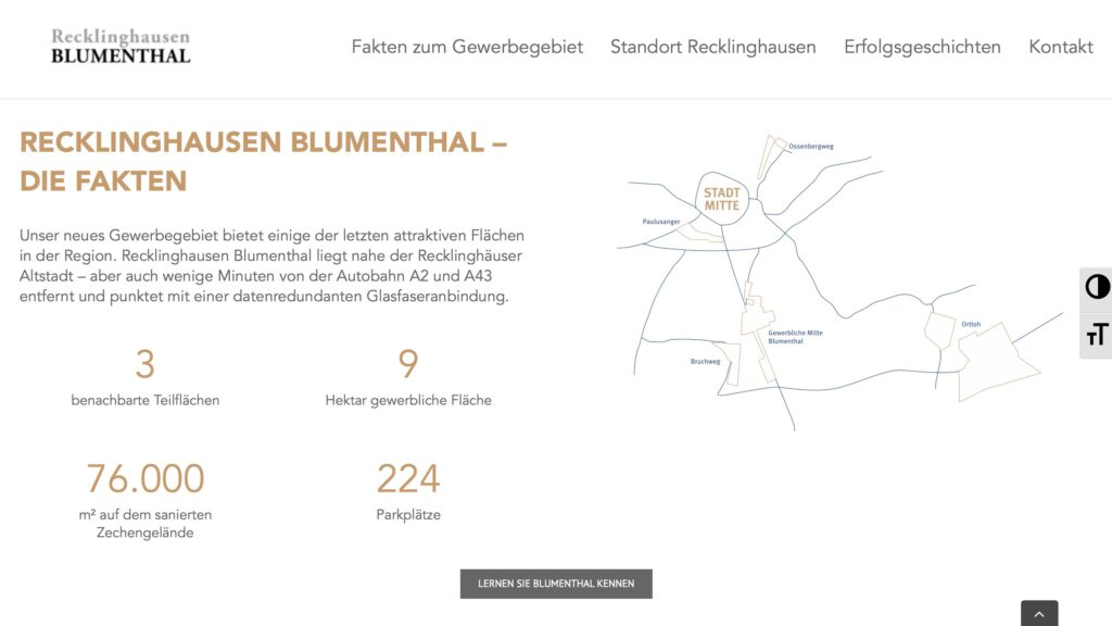 Moduldrei Referenz – Recklinghausen Blumenthal Website Fakten