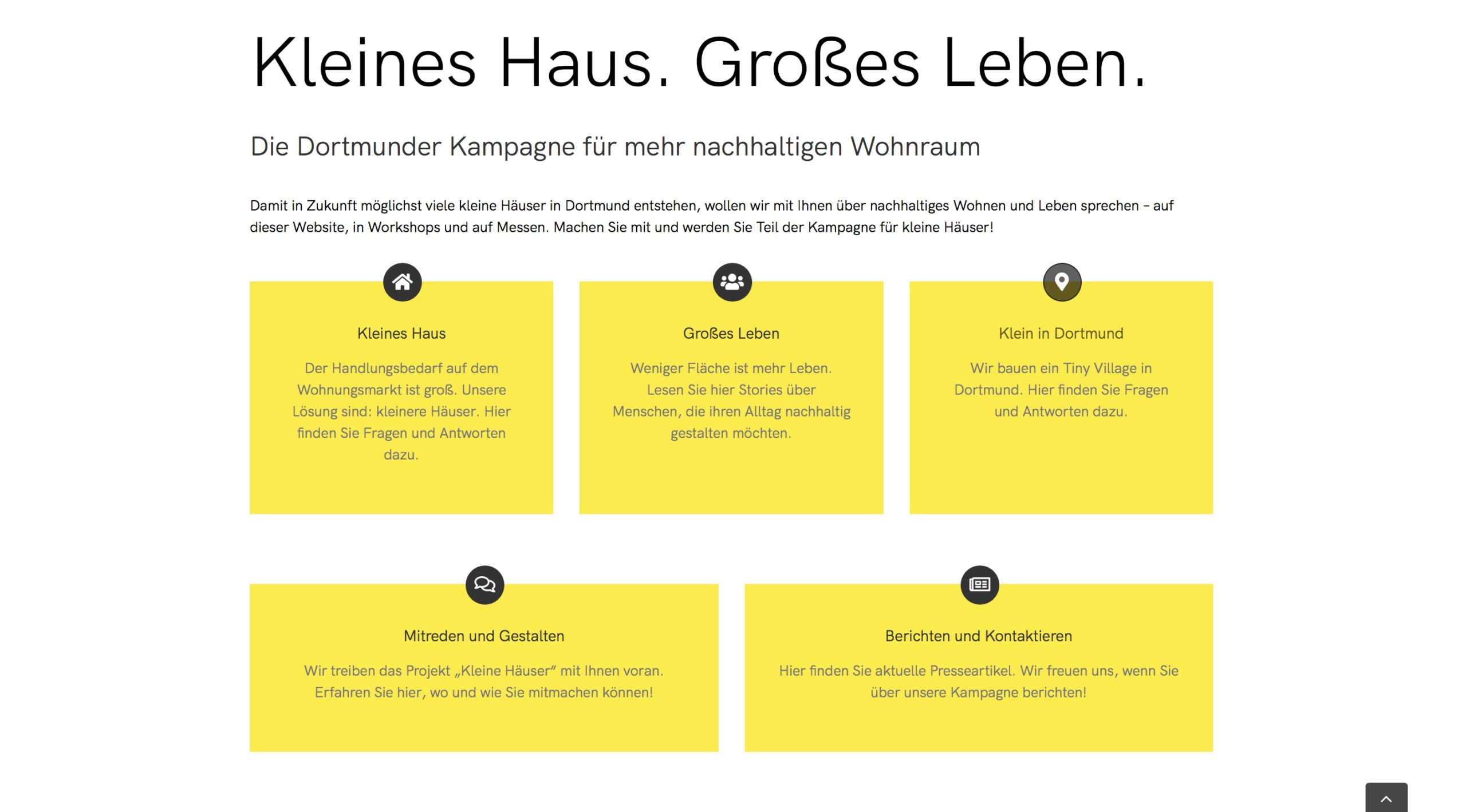 Moduldrei Referenz – Kleine Häuser Dortmund Website